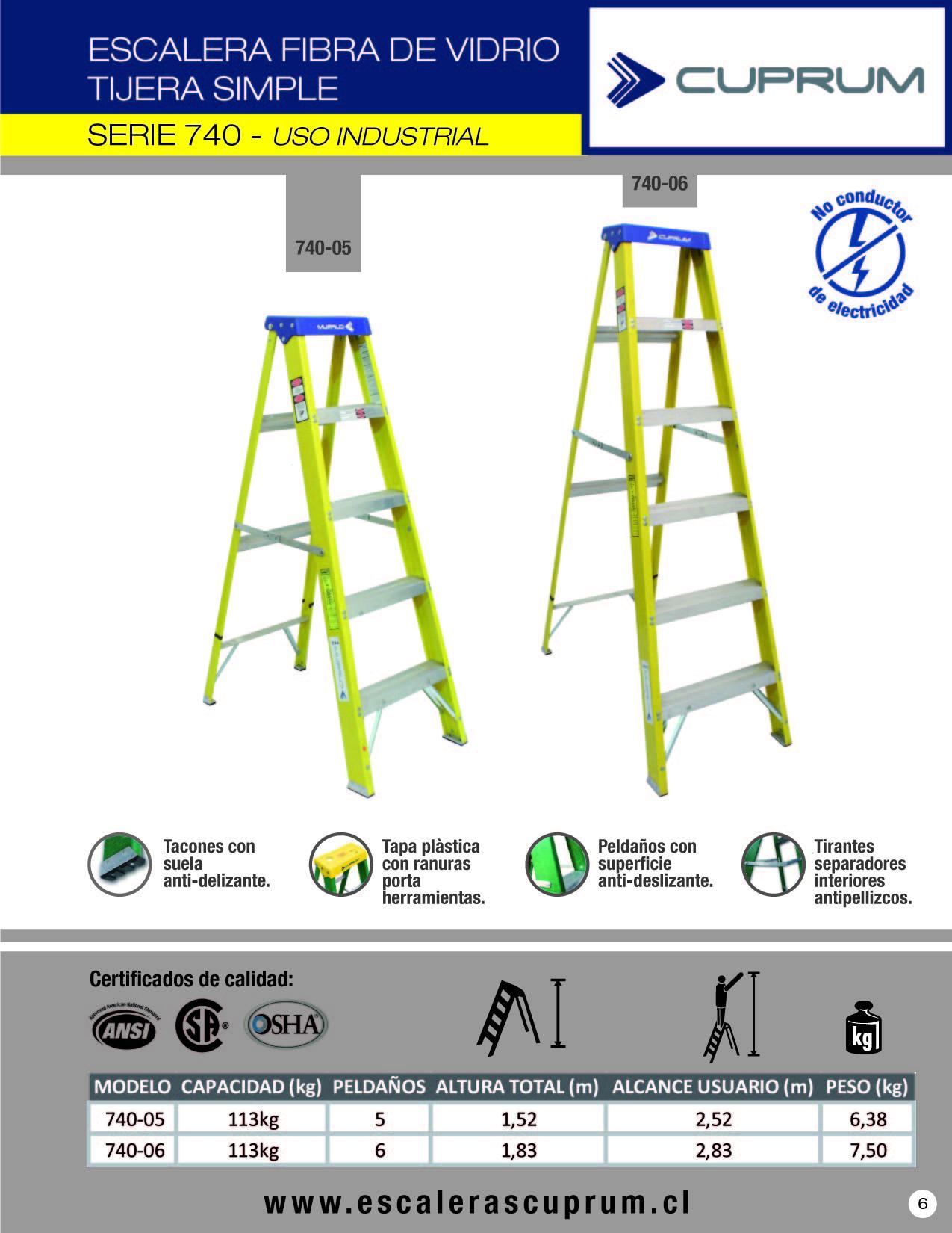 Escalera de tijera de fibra de vidrio metros y 5 for Escalera de 5 metros