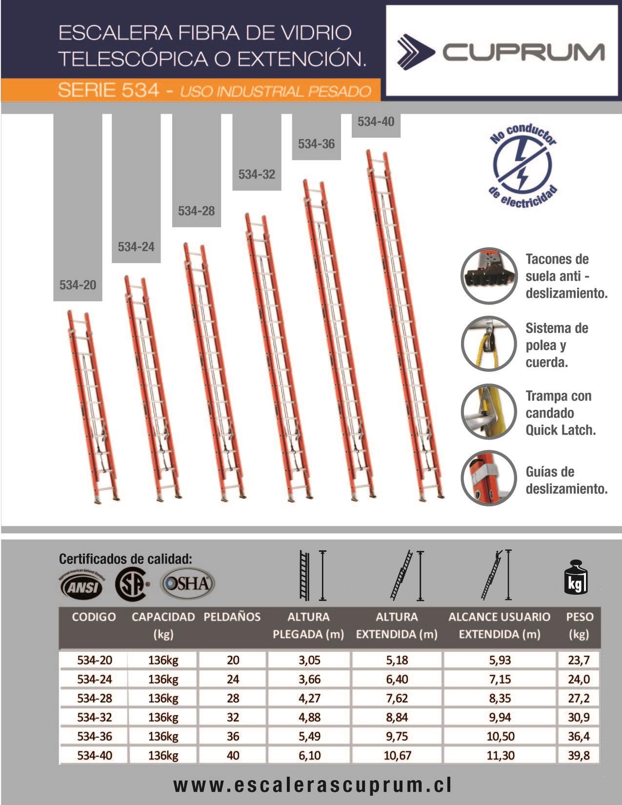 Escalera telescopica extensi n fibra de vidrio for Escalera de aluminio extensible 9 metros