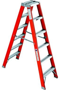Escalera doble acceso fibra de vidrio metros y 10 for Escaleras 10 peldanos de tijera